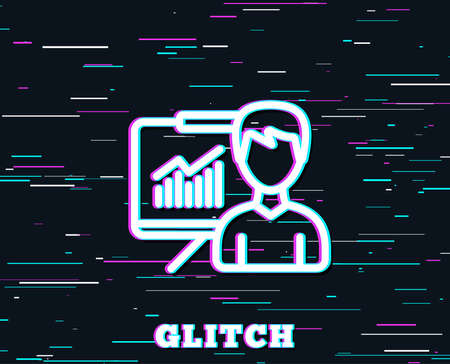 Glitch effect. Presentation line icon. Education board sign. Lecture with Charts symbol. Background with colored lines. Vector