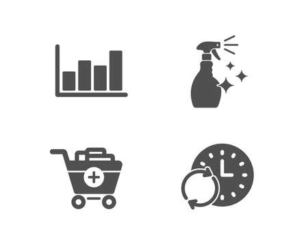 Set of Add products, Washing cleanser and Report diagram icons. Update time sign. Shopping cart, Housekeeping spray, Financial market. Refresh clock.  Quality design elements. Classic style. Vector Stock Illustratie