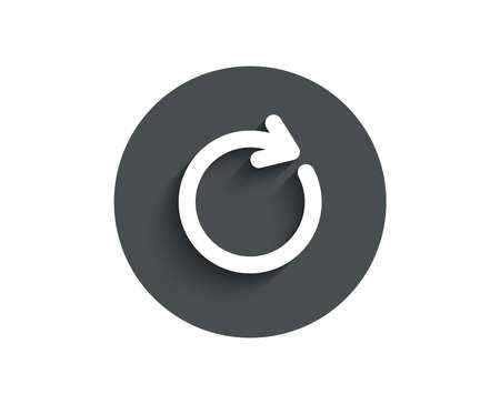 Refresh simple icon. Rotation arrow sign. Reset or Reload symbol. Circle flat button with shadow. Vector