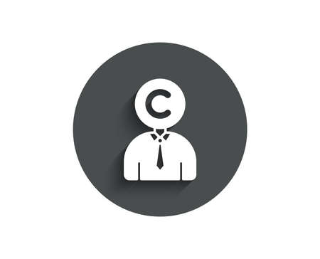 Сopyrighter simple icon. Writer person sign. Copywriting symbol. Circle flat button with shadow. Vector Illusztráció