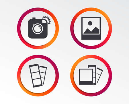 Hipster photo camera icon. Flash light symbol. Photo booth strips sign. Landscape photo frame. Infographic design buttons. Circle templates. Vector  イラスト・ベクター素材