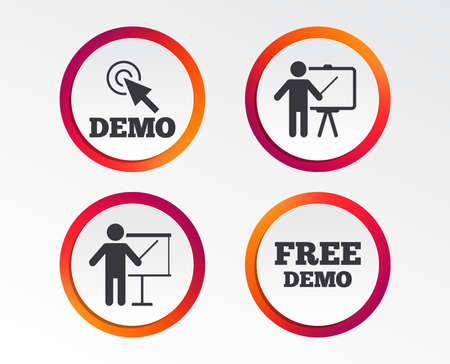 Demo with cursor icon. Presentation billboard sign. Man standing with pointer symbol. Infographic design buttons. Circle templates. Vector