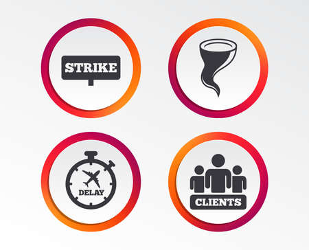 Strike icon. Storm bad weather and group of people signs. Delayed flight symbol. Infographic design buttons. Circle templates. Vector Illustration