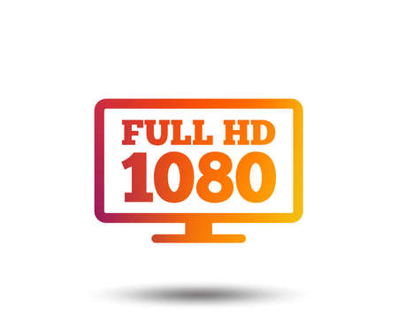 Full hd widescreen tv sign icon. 1080p symbol. Blurred gradient design element. Vivid graphic flat icon. Vector Illusztráció