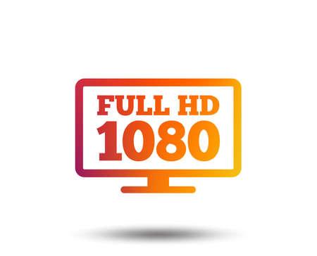 Full hd widescreen tv sign icon. 1080p symbol. Blurred gradient design element. Vivid graphic flat icon. Vector Illustration