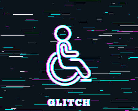 Glitch effect. Disabled line icon. Handicapped wheelchair sign. Person transportation symbol. Background with colored lines. Vector