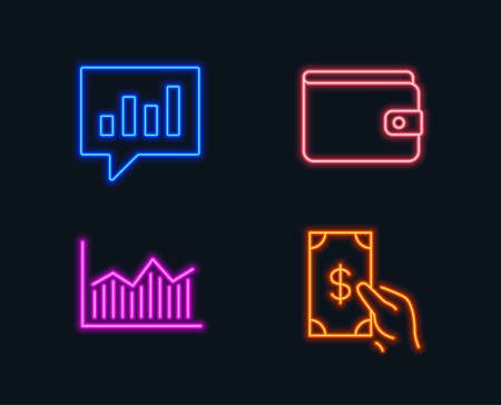 Neon lights. Set of Money wallet, Money diagram and Analytical chat icons. Payment method, Currency diagram, Communication speech bubble. Cash payment.  Glowing graphic designs. Vector  イラスト・ベクター素材