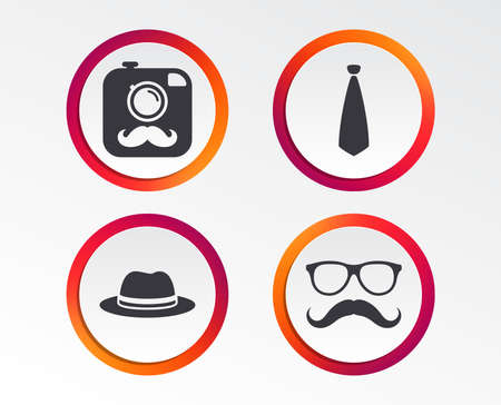 Hipster photo camera with mustache icon. Glasses and tie symbols. Classic hat headdress sign. Infographic design buttons. Circle templates. Vector