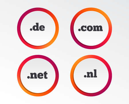 Top-level internet domain icons. De, Com, Net and Nl symbols. Unique national DNS names. Infographic design buttons. Circle templates. Vector Zdjęcie Seryjne - 102085128