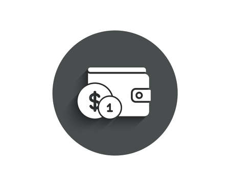 Wallet with Cash money simple icon. Dollar currency sign. Payment method symbol. Circle flat button with shadow. Vector