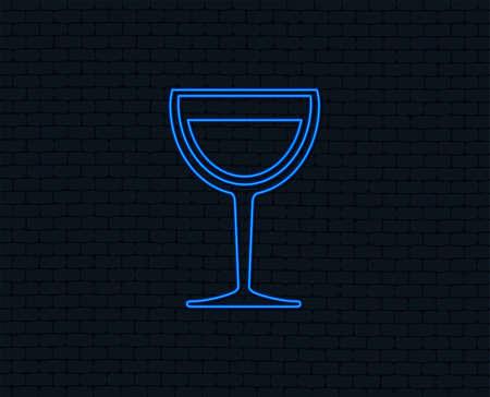 Neon light. Wine glass sign icon. Alcohol drink symbol. Glowing graphic design. Brick wall. Vector Illusztráció