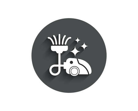 Vacuum cleaner simple icon. Cleaning service symbol. Hoover sign. Circle flat button with shadow. Vector