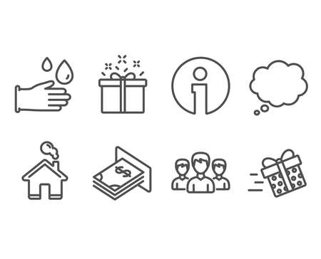 Set of Rubber gloves, Comic message and Group icons. Special offer, Atm money and Present delivery signs. Hygiene equipment, Speech bubble, Group of people. Vector
