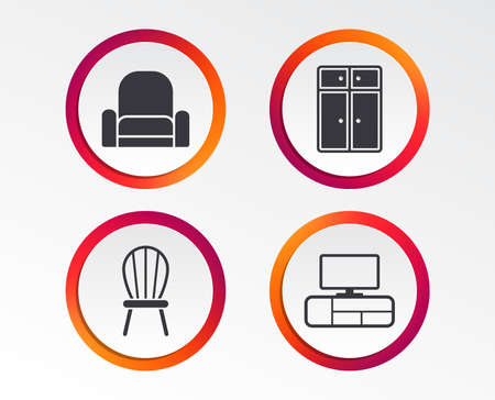 Furniture icons. Cupboard, chair and TV table signs. Modern armchair symbol. Infographic design buttons. Circle templates. Vector 일러스트
