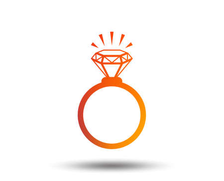 Ring sign icon. Jewelry with shine diamond symbol. Wedding or engagement day symbol. Blurred gradient design element. Vivid graphic flat icon. Vector Illustration