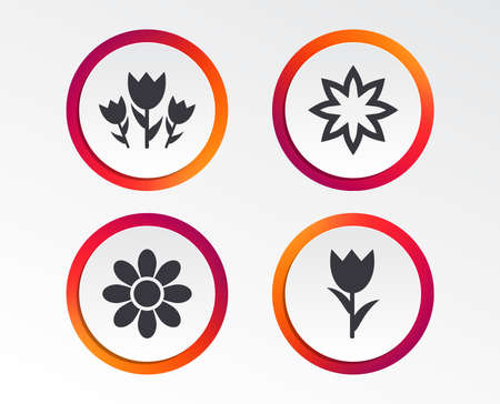 Flowers icons. Bouquet of roses symbol. Flower with petals and leaves. Infographic design buttons. Circle templates. Vector Ilustracja