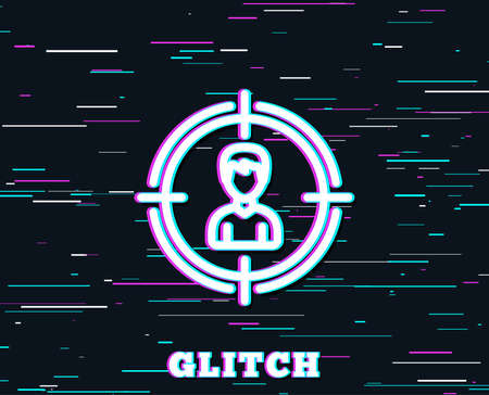 Glitch effect. Head hunting line icon. Business target or Employment sign. Background with colored lines. Vector