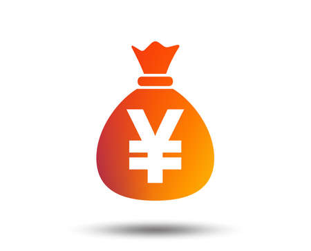 Money bag sign icon. Yen JPY currency symbol. Blurred gradient design element. Vivid graphic flat icon. Vector 向量圖像