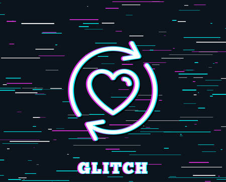 Glitch effect. Update relationships line icon. Love dating symbol. Valentines day sign. Background with colored lines. Vector Illusztráció