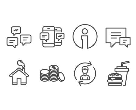 Set of Comment, Chat messages and Human resources icons. Banking money, Smartphone sms and Hamburger signs. Talk bubbles, Communication, Update profile. Vector