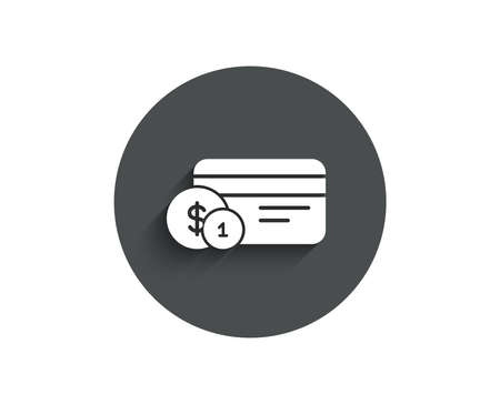 Credit card simple icon. Banking Payment card with Coins sign. ATM service symbol. Circle flat button with shadow. Vector