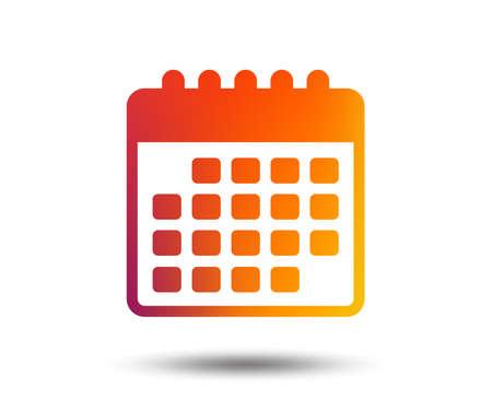 Calendar icon. Event reminder symbol. Blurred gradient design element. Vivid graphic flat icon. Vector