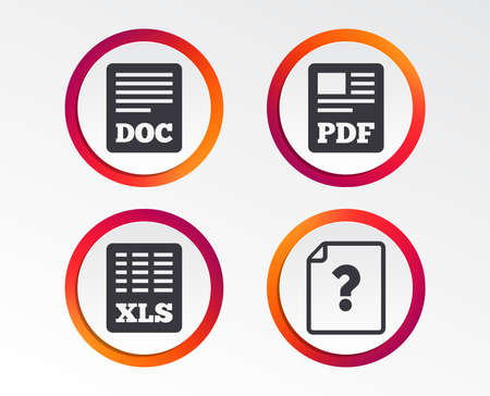 File document and question icons. XLS, PDF and DOC file symbols. Download or save doc signs. Infographic design buttons. Circle templates. Vector