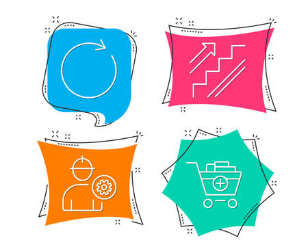 Set of Synchronize, Engineer and Stairs icons. Add products sign. Refresh or update, Worker with cogwheel, Stairway. Shopping cart.  Flat geometric colored tags. Vivid banners. Trendy graphic design
