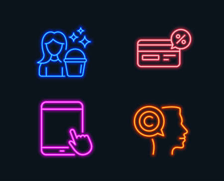 Neon lights. Set of Cashback, Tablet pc and Cleaning icons. Writer sign. Non-cash payment, Touchscreen gadget, Maid service. Copyrighter.  Glowing graphic designs. Vector