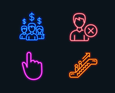 Neon lights. Set of Salary employees, Remove account and Hand click icons. Escalator sign. People earnings, Delete user, Location pointer. Elevator.  Glowing graphic designs. Vector Imagens - 102085179