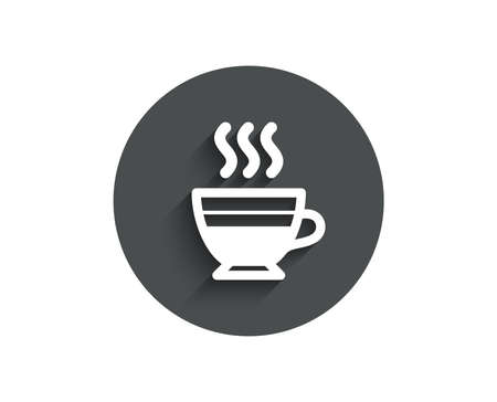 Cafe creme icon. Hot drink sign. Beverage symbol. Circle flat button with shadow. Vector