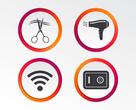 Hotel services icons. Wi-fi, Hairdryer and deposit lock in room signs. Wireless Network. Hairdresser or barbershop symbol. Infographic design buttons. Circle templates. Vector Banque d'images - 102085184