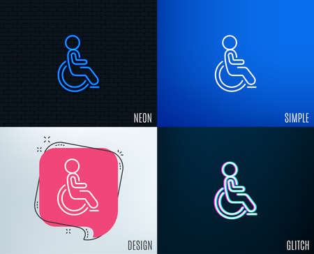 Glitch, Neon effect. Disabled line icon. Handicapped wheelchair sign. Person transportation symbol. Trendy flat geometric designs. Vector