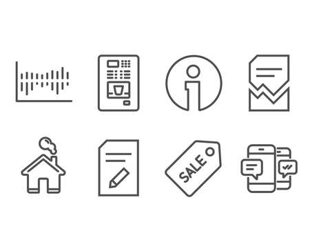 Set of Sale ticket, Edit document and Coffee vending icons. Corrupted file, Column diagram and Smartphone sms signs. Discount coupon, Page with pencil, Coffee vending machine. Vector 일러스트