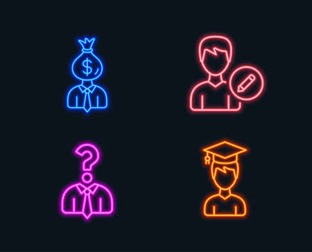 Neon lights. Set of Edit person, Hiring employees and Manager icons. Student sign. Change user info, Human resources, Work profit. Graduation cap.  Glowing graphic designs. Vector Illustration