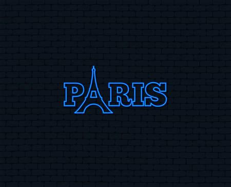 Neon light. Eiffel tower icon. Paris symbol. Glowing graphic design. Brick wall. Vector