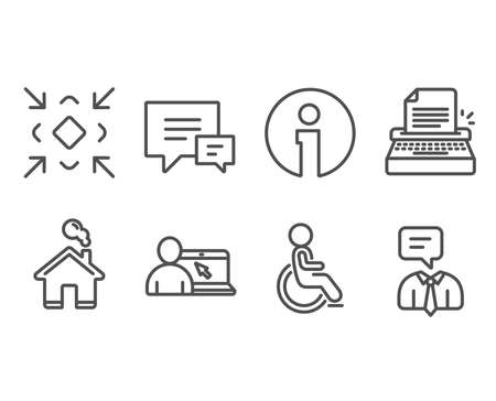 Set of Minimize, Typewriter and Online education icons. Comment, Disabled and Support service signs. Small screen, Writer machine, Internet lectures. Vector