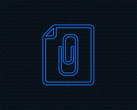 Neon light. File annex icon. Paper clip symbol. Attach symbol. Glowing graphic design. Brick wall. Vector Ilustracja
