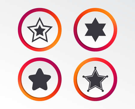 Star of David icons. Sheriff police sign. Symbol of Israel. Infographic design buttons. Circle templates. Vector