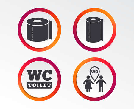 Toilet paper icons. Gents and ladies room signs. Paper towel or kitchen roll. Man and woman symbols. Infographic design buttons. Circle templates. Vector