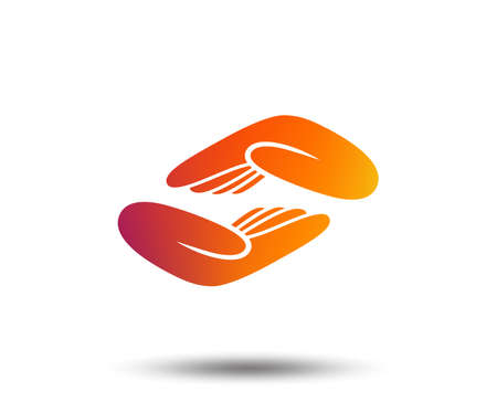 Helping hands sign icon. Charity or endowment symbol. Human palm. Blurred gradient design element. Vivid graphic flat icon. Vector Vectores