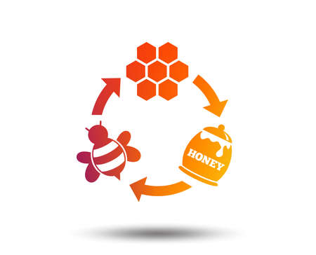 Producing honey and beeswax sign icon. Honeycomb cells symbol. Honey in pot. Sweet natural food cycle in nature. Blurred gradient design element. Vivid graphic flat icon. Vector Imagens - 102085207