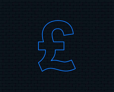 Neon light. Pound sign icon. GBP currency symbol. Money label. Glowing graphic design. Brick wall. Vector Illustration