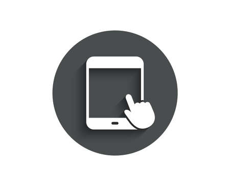 Tablet PC icon. Mobile Device with Hand cursor sign. Touchscreen gadget symbols. Circle flat button with shadow. Vector 일러스트