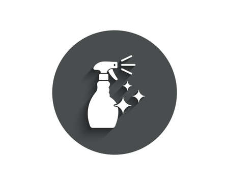 Cleaning spray simple icon. Washing liquid or Cleanser symbol. Housekeeping equipment sign. Circle flat button with shadow. Vector  イラスト・ベクター素材