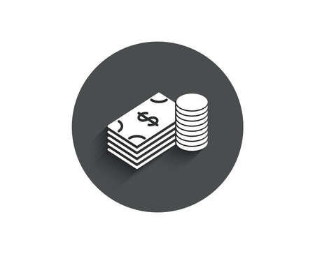 Cash money simple icon. Banking currency sign. Dollar or USD symbol. Circle flat button with shadow. Vector Ilustracja