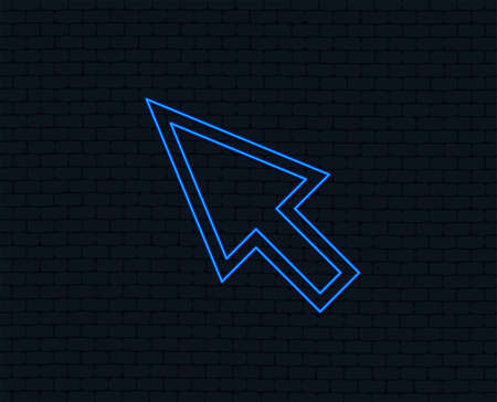 Neon light. Mouse cursor sign icon. Pointer symbol. Glowing graphic design. Brick wall. Vector