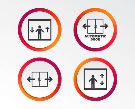 Automatic door icons. Elevator symbols. Auto open. Person symbol with up and down arrows. Infographic design buttons. Circle templates. Vector Illustration