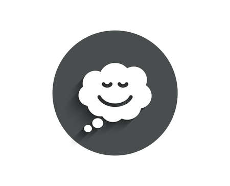 Comic speech bubble with Smile simple icon. Chat emotion sign. Circle flat button with shadow. Vector