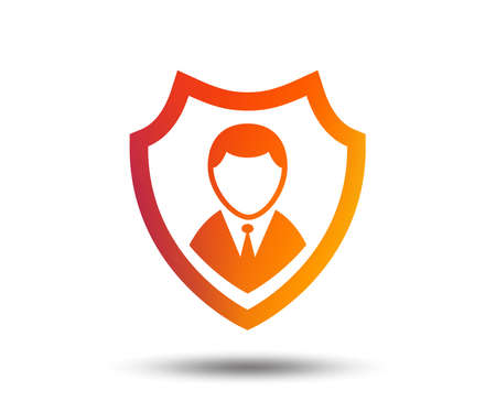 Security agency sign icon. Shield protection symbol. Blurred gradient design element. Vivid graphic flat icon. Vector Illustration